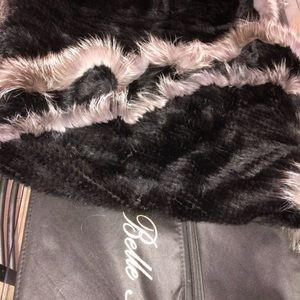 Belle fare real  mink cape black and grey
